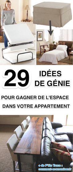 Rester organisé et trouver de la place pour toutes vos affaires peut sembler impossible dans un petit appartement. Heureusement, il existe des astuces pour optimiser l'agencement et diminuer la perte d'espace dans votre appartement. Découvrez l'astuce ici : http://www.comment-economiser.fr/29-astuces-pour-gagner-place-dans-appartement.html?utm_content=buffer07c56&utm_medium=social&utm_source=pinterest.com&utm_campaign=buffer