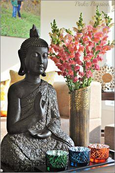 Home décor, Buddha vignette, snapdragon flowers décor, serene vignette