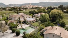 The villa with Sablet village in the background