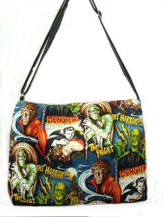 Net book Case Bag Messenger bag with Monsters by HandmadeFashion, $59.99