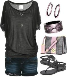 Cute Outfits with Shorts | Wish | Cute Black Shirt & Denim Shorts Outfit | Fashion