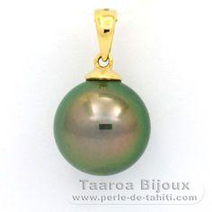 Pendentif en Or 18K et 1 Perle de Tahiti Ronde B 11.5 mm - Taaroa Perles de Tahiti - Perles de Tahiti, d'Australie et des Mers du Sud - Bijouterie en ligne - Polynésie Française / St Barthélemy