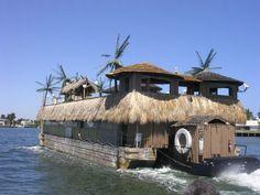 Floating tiki beach bar