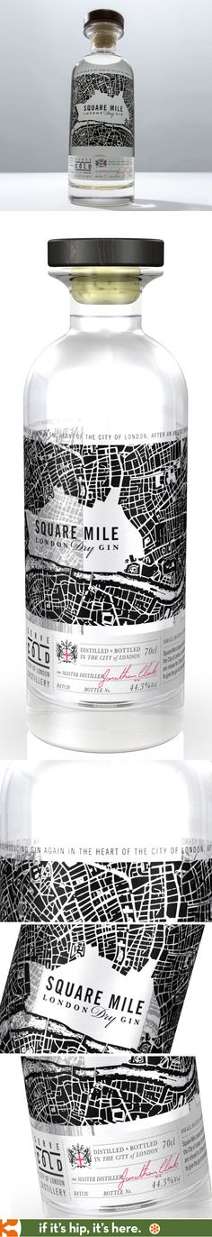 Square Mile Small Batch London Dry Gin with bottle design by Bluemarlin Design