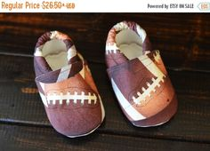 football baby shoes wee little piggies baby by TheWeeLittlePiggies Baby Boy Shoes, Crib Shoes, Baby Booties, Kansas City Chiefs Apparel, Baby Boy Football, Weekend Sale, Baby Feet, Long Toes, Your Shoes