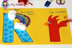 Super cute letter 4 craft (rainbow, rain, rooster) perfect for toddler, preschool, kindergarten