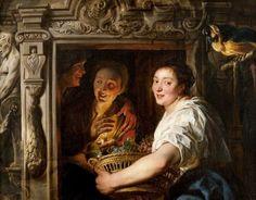 Jacob Jordaens - Dienstmeid met een mandje fruit en twee geliefden