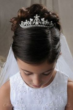 first communion veils in stock in a variety of styles including headbands, tiaras, crowns, bunwraps, wreaths. coordinate your communion veil with christian expressions first communion dresses and accessories. First Communion Veils, Girls Communion Dresses, First Communion Party, First Holy Communion, Communion Shoes, Bridal Veils And Headpieces, Wedding Veils, Communion Hairstyles, Hair Styles