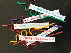 Easy Valentine idea for boys or girls! Crazy straws from the dollar store and a fun saying.