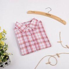 f871e6de7689 Western Style Long Sleeved Women Plaid Blouse Shirt