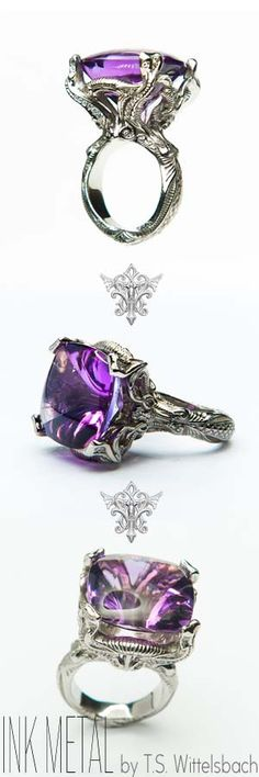 MERMAIDS    Nouveau-inspired mermaids in crisp palladium upholding a 31-carat electric purple amethyst that's been uniquely cut with a cabochon top to reveal intricate detail. This decadent statement piece is also bejeweled with .30ctw diamonds throughout. $11248.00