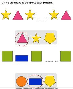 Complete the Missing Pattern Answer 1st Grade Math, Grade 1, Test For Kids, Shapes Worksheets, Brain, Kindergarten, Activities, Pattern, Atelier