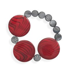 """7"""" Red and Grey Shell Bracelet"""
