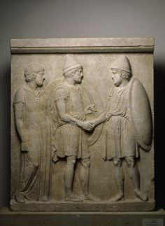 Attic grave relief of Sosia and Kephisodoros. More precisely, by 410 BC.  Der Staatlichen Museen zu Berlin