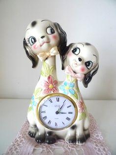 Vintage puppy sisters clock