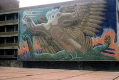 https://flic.kr/p/3fd3gj | Dragon mural, UNAM, December 1958 | Mexico's National University, Universidad Nacional Autónoma de México (UNAM), was established in 1551.  It is the largest university in Latin America and generally considered the best.  Its main campus in the Coyoacan district of Mexico City was built in the 1950s. Many of the buildings are covered with mosaics by world-renowned artists and muralists.  This is the School of Dentistry  Photo by Walter Reed  <a…