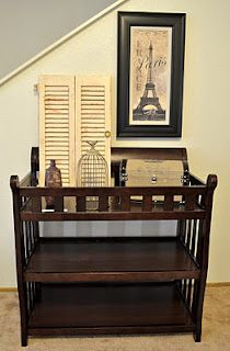 Re-purposed changing table would make a great bar with rails for glasses.