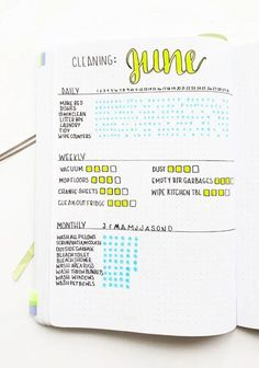 Cleaning schedule spread for your bullet journal. Bullet Journal Lettering Ideas, Bullet Journal Layout, Bullet Journal Inspiration, Journal Fonts, Types Of Bullet Journals, Year In Pixels, Journal Pages, Journal Ideas, Bullet Journal How To Start A