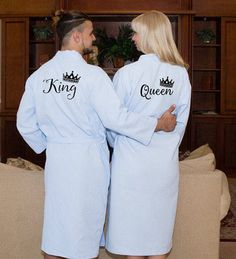 King and Queen Bath Robes Couple Robes Mr. Robes His Her's Personalize Robes Honeymoon Gift Name Wedding Gifts Gift for Groom Bathrobe 👘 👘 Wedding Gifts For Bride And Groom, Wedding Gifts For Couples, Top Wedding Trends, Trendy Wedding, Wedding Ideas, Flower Girl Robes, Flower Girls, Dress Name, Honeymoon Gifts