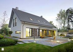 ATRAKCYJNY 3A - nowoczesny dom z poddaszem użytkowym - Małe jednopiętrowe domy jednorodzinne z dwuspadowym dachem murowane, styl nowoczesny - zdjęcie od DOMY Z WIZJĄ - nowoczesne projekty domów