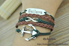 Anchor & Infinity Wish and Believe bracelet  Green by Richardwu, $5.99