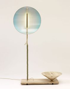 Mitate Lighting Collection by Studio Wieki Somers | Shade in anodised aluminium with printed reflection foil, LED light sources; Pole in brass with cord binding; Base in tulip wood, brass.