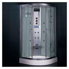 """Ariel DZ934F3 Platinum 87"""" Steam Shower Enclosure with Shower System White Steam Showers Steamroom Enclosures Shower System"""