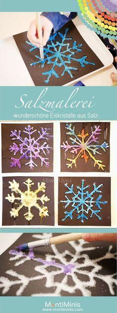 Salzmalerei – bunte Eiskristalle aus Salz Salt painting – colorful ice crystals made of salt Winter Crafts For Kids, Winter Kids, Winter Art, Diy For Kids, Diy Crafts To Do, Kids Crafts, Arts And Crafts, Winter Activities, Activities For Kids
