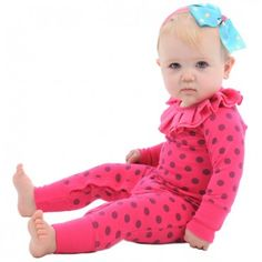Circus Ruffles Long Sleeve Playsuit Pink Dotted - Babies