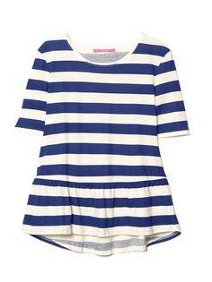 Camiseta mujer manga corta peplum rayas marineras