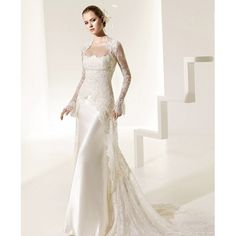 wedding gowns with sleeves   ... Sheath Wedding Gown with Detachable Long Sleeves and Clingy Long Dress