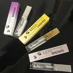 LUXE Beauty Family:  Violet Label - extra strong formula treats aging / very damaged brows;  Gold Label - get long sexy lashes just in 6 weeks!  Silver Label - regrow your stubborn overplucked brows!   The Peptide Complex used in our eyelash and brow growth products is made up of beneficial amino acids, which are designed help stimulate dormant follicles to grow. Peptides are chains of amino acids, which are the building blocks for the proteins our body uses to build skin, muscle and etc
