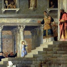 Anna and Joachim's little girl enters the Temple.  (For the feast of the Presentation)