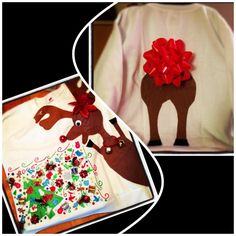 Puking Reindeer Ugly Sweater ;) went to dollar tree, bought one package of every crazy Christmas thing they had and glued it to the sweatshirt! Reindeer was cut out of felt and antlers were cut off a headband. The bells were the best part because it jingled whenever you moved ;)