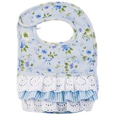 Still Blooming Collection 2018 Blue - Printed interlock bib features front crumb catcher and eyelet and stripe ruffle detail, 11 x 9 White - Faille bib features embroidered florals and scalloped lace trim, 10 x Hook and loop closure and dot minky backing Baby Engel, Little Footprints, Childrens Shop, Bib Pattern, Baby Sewing Projects, Mud Pie, Scalloped Lace, Baby Bibs, Burp Cloths