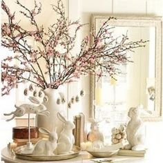 Love the cherry branches in the white pitcher!