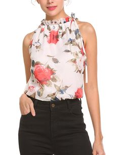 Womens Summer Chiffon Sleeveless Blouse Ruffle Halter Floral Tank Tops - White - Clothing, Tops & Tees, Tanks & Camis Source by clothes tops Womens Clothing Stores, Clothes For Women, Women's Clothing, Sleeveless Blouse, Ruffle Blouse, Casual Outfits, Fashion Outfits, Older Women Fashion, Floral Tank Top
