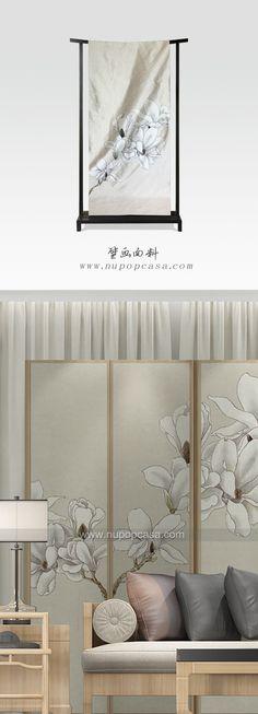 工笔艺术壁画面料--酒店室内设计应用:隔断、沙发背景、床背景、玄关、窗帘、屏风