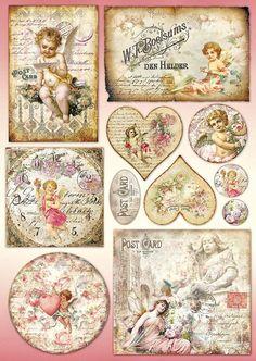 """Papier do decoupage Stamperia - Papier klasyczny DFG by marquita"", ""Vintage valentine hearts and postcar Decoupage Vintage, Decoupage Box, Vintage Crafts, Vintage Paper, Vintage Tags, Vintage Labels, Vintage Ephemera, Vintage Postcards, Printable Vintage"