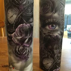 Tattoo Style 30 oz tumbler, Black & White, Touch of Color, Roses, Time