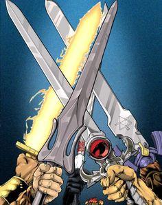 80's Swords: Thundaar the Barbarian, He-Man, Snake Eyes, Lion-O, and Link.