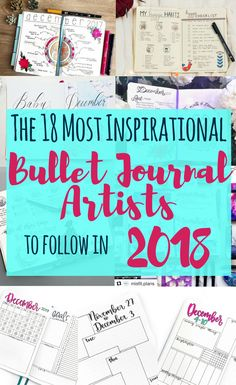 What you've been waiting for, here is the list of the 18 most inspirational and influential bullet journal accounts for 2018! This article brings everything bujo straight to you! Get information about layouts, blog posts, ideas, setup, supplies, and so much more. This is a perfect place if you want to know how to start a bullet journal. Go check out all the artists, and be prepared to enjoy a full calendar year of inspiration!
