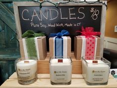 Soy candles, wood wick, amazing scents!