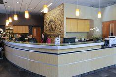 Reception counter at the Adobe Animal Hospital in Los Altos, California.