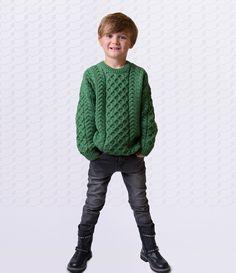 THE HANDY GEANSAÍ - Kids Aran Sweater. Little Yarn Company, Woolen Irish Jumpers, Cardigans, Sweaters and Knits for kids. Contemporary kids knitwear fashion from Killarney, Co. Kerry, Ireland