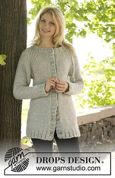 "Virginia Cardigan - Knitted DROPS jacket with rib and raglan, worked top down in ""Eskimo"". Size: S - XXXL. - Free pattern by DROPS Design Baby Knitting Patterns, Knitting Stitches, Free Knitting, Crochet Patterns, Drops Design, Cardigan Pattern, Free Pattern, Knit Crochet, Sweaters For Women"