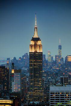 NYC. Manhattan at dusk, looking South