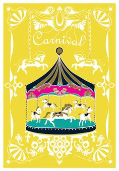 Large 13 X 19 / Poster / Merry  Go  Round Print / by dekanimal, $35.00
