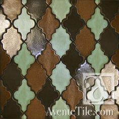 Clay Arabesque Leon Bisque Paver Hand Painted Ceramic Tile