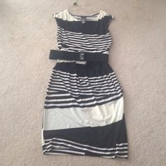 Black and white striped dress Long dress black and white stripes comes with a belt my mom never wore it. I believe it's from JC Penny. Perfect condition Bisou Bisou Dresses